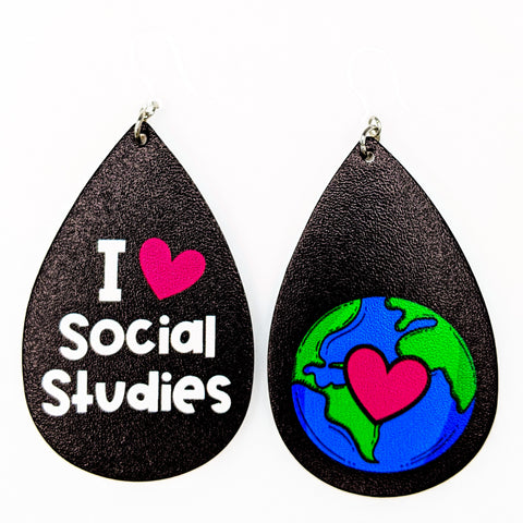I Love Social Studies Earrings (Teardrop Dangles)