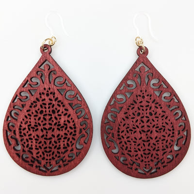Wooden Teardrop Earrings (Dangles)