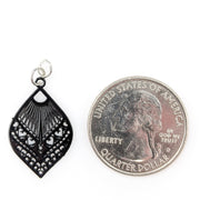 Small Peacock Earrings (Dangles) - size comparison quarter