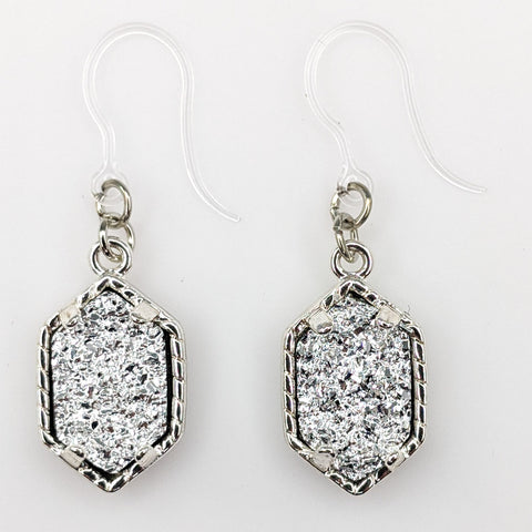 Petite Faux Druzy Drop Earrings (Dangles) - silver/silver