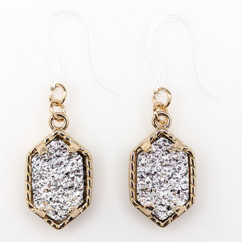 Petite Faux Druzy Drop Earrings (Dangles) - silver/gold