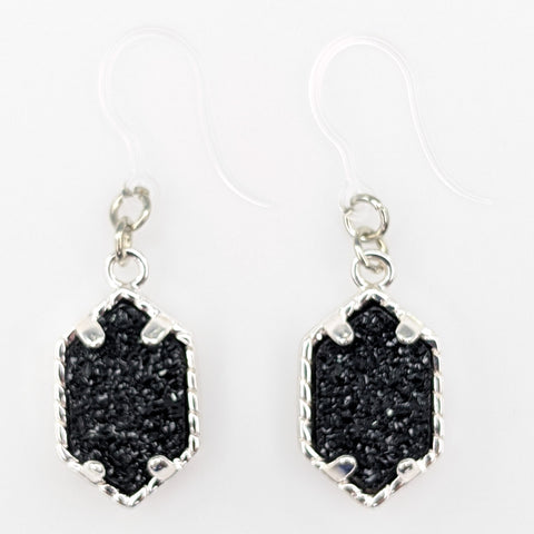 Petite Faux Druzy Drop Earrings (Dangles) - black/silver