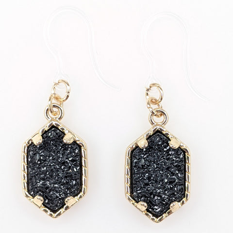 Petite Faux Druzy Drop Earrings (Dangles) - black/gold
