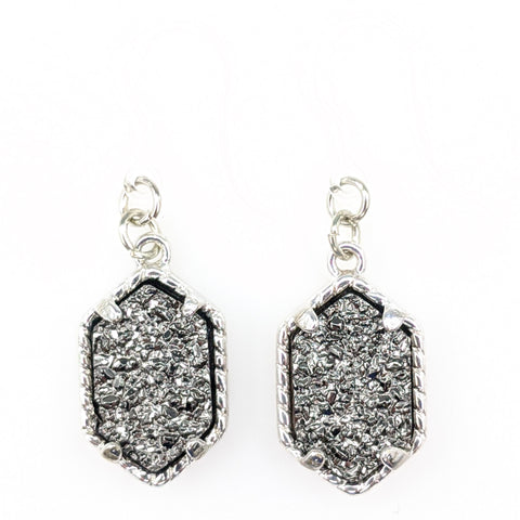 Petite Faux Druzy Drop Earrings (Dangles) - gray/silver