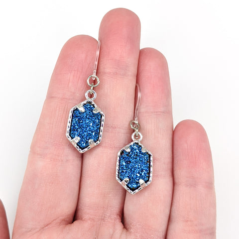 Petite Faux Druzy Drop Earrings (Dangles) - size comparison hand