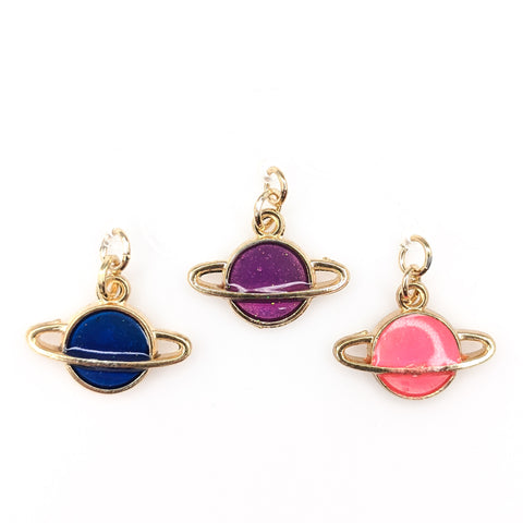 Gold Ringed Planet Earrings (Dangles) - all colors