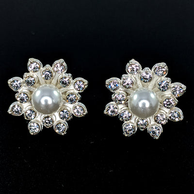 Bursting Rhinestone Pearl Earrings (Studs)