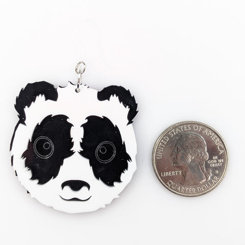 Exaggerated Panda Earrings (Dangles) - size comparison quarter