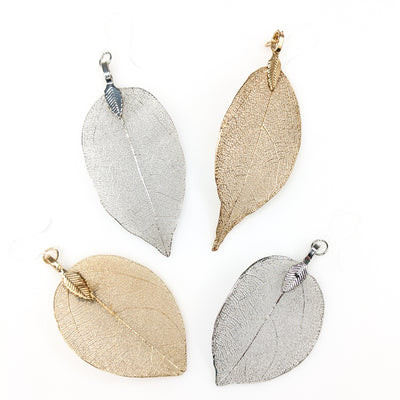 Realistic Metallic Leaf Earrings (Dangles) - all colors