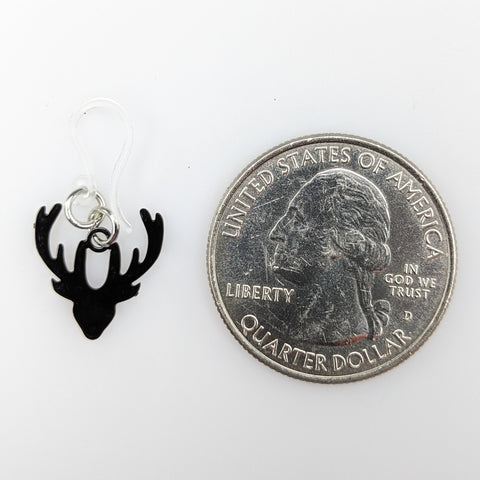 Dainty Deer Earrings (Dangles) - size comparison quarter