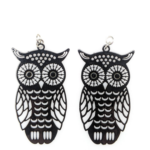 Owl Earrings (Dangles) - black