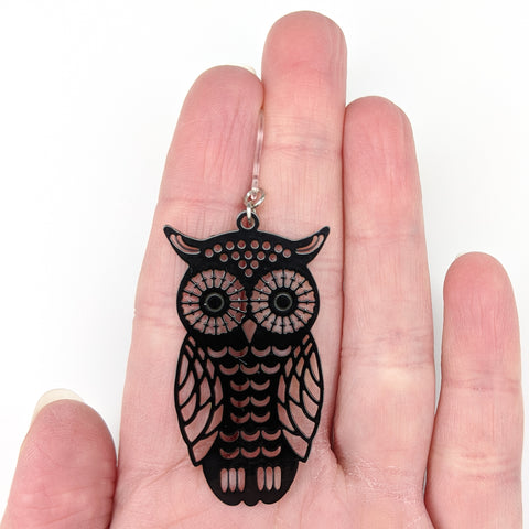 Owl Earrings (Dangles) - size comparison hand