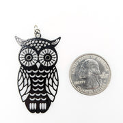 Owl Earrings (Dangles) - size comparison quarter