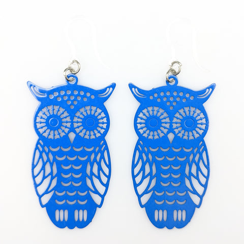 Owl Earrings (Dangles) - blue