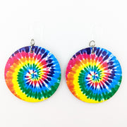 Tie Dye Earrings (Teardrop Dangles) - classic circle