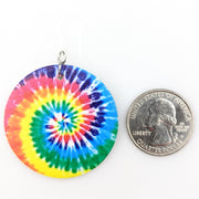 Tie Dye Earrings (Teardrop Dangles) - circle size comparison quarter