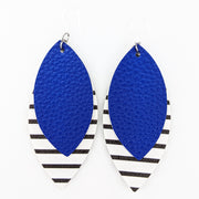 Double Layer Stripe Earrings (Teardrop Dangles) - blue