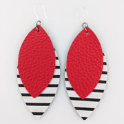 Double Layer Stripe Earrings (Teardrop Dangles) - red