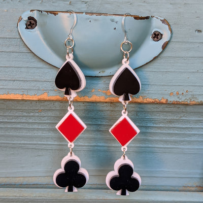 Playing Card Suit Earrings (Dangles) - black, red, and white