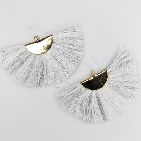 FANtastic Tassel Earrings (Dangles) - white