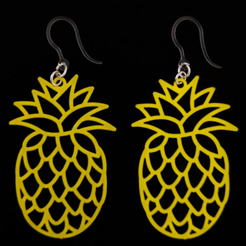 Pineapple Earrings (Dangles) - large and yellow