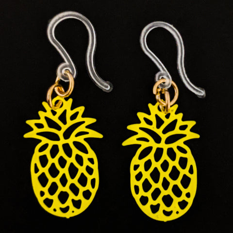 Pineapple Earrings (Dangles) - small and yellow