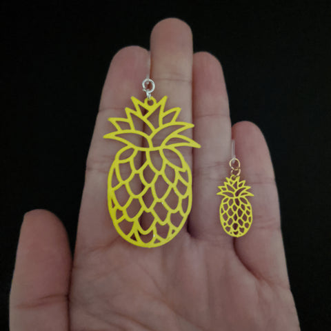 Pineapple Earrings (Dangles) - size comparison hand