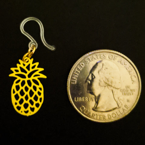 Pineapple Earrings (Dangles) - small - size comparison quarter