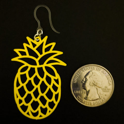 Pineapple Earrings (Dangles) - large - size comparison quarter