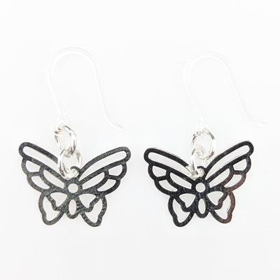 Silver Butterfly Earrings (Dangles) - silver