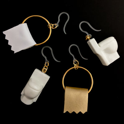 Toilet & Toilet Paper Earrings (Dangles) - all colors