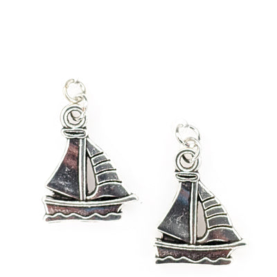 Silver Sailboat Earrings (Dangles)