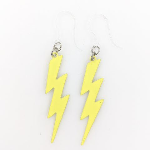 Lightning Bolt Earrings (Dangles) - yellow