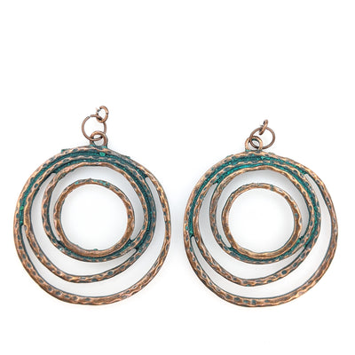 Copper Stacked Hoop Earrings (Dangles)