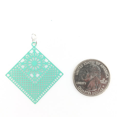 Quilt Earrings (Dangles) - size comparison quarter