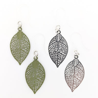 Dainty Leaf Earrings (Dangles) - all colors
