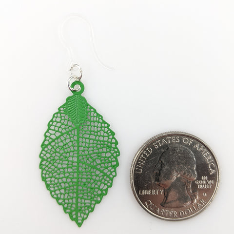 Jagged Leaf Earrings (Dangles) - small green - size comparison quarter