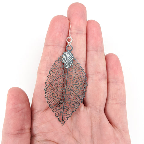 Jagged Leaf Earrings (Dangles) - large - size comparison hand