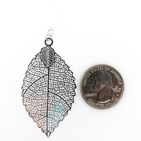 Jagged Leaf Earrings (Dangles) - large - size comparison quarter