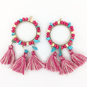 Large Beaded Hoop Earrings (Dangles) - pink