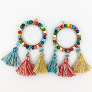 Large Beaded Hoop Earrings (Dangles) - multicolor