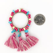 Large Beaded Hoop Earrings (Dangles) - size comparison quarter