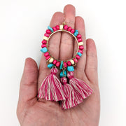 Large Beaded Hoop Earrings (Dangles) - size comparison hand