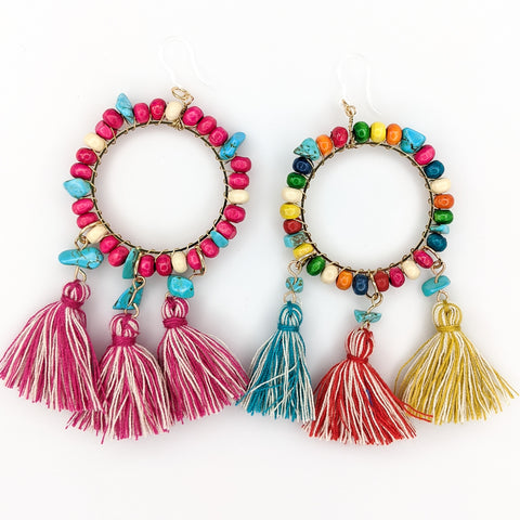 Large Beaded Hoop Earrings (Dangles) - all colors