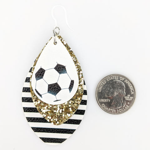 Triple Layer Glitter Soccer Earrings (Teardrop Dangles) - size comparison quarter