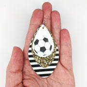 Triple Layer Glitter Soccer Earrings (Teardrop Dangles) - size comparison hand
