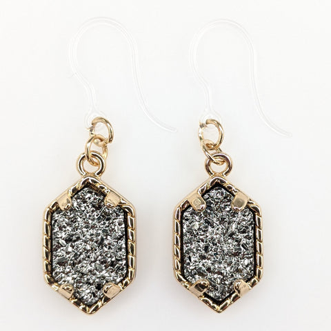 Petite Faux Druzy Drop Earrings (Dangles) - dark gray/gold