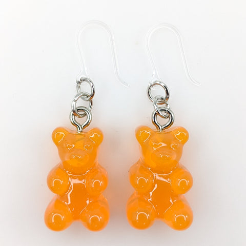 Gummy Bear Drop Earrings (Dangles) - orange