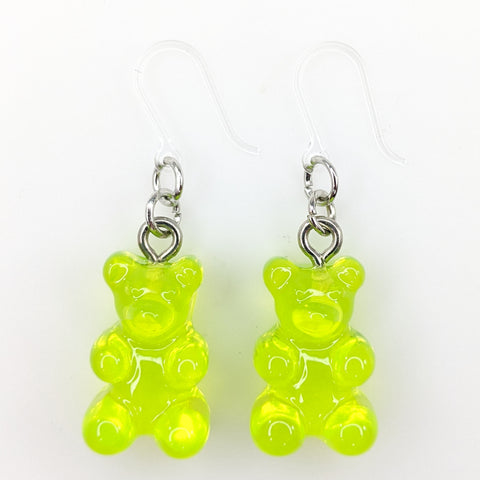 Gummy Bear Drop Earrings (Dangles) - lime