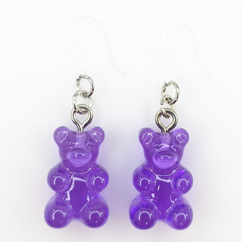Gummy Bear Drop Earrings (Dangles) - purple